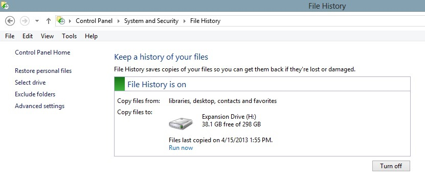 File History Backup Windows 8