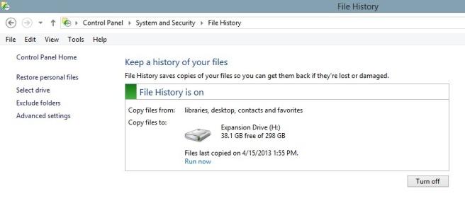 File History Backup Windows 8